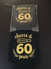 Set of 2 - 60th.Birthday Coolie Coozie Can Holders - Cheers and Beers to 60