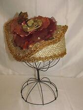 Vtg Womens Pillbox Hat Dressy Art Deco 1920s 30s 40s Small Medium Floral Gold