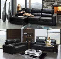 Naples Salisbury Corner Sofa & 3 + 2 Seater Sofa Black OR Brown Bonded Leather