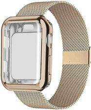 Watch Band 42mm with Case,Stainless Steel Wristband with Protective Screen Case