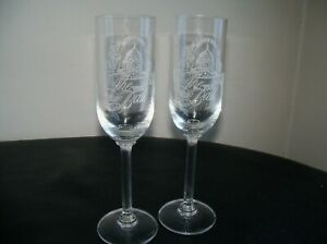 "2  MONTANA State Governor's  Ball  1889-1989 Champagne glasses 9"" tall"
