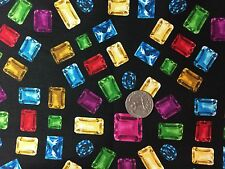 Bejeweled Jewels Jewelry on Black Novelty Quilt Fabric Fat Quarters FQ FQs