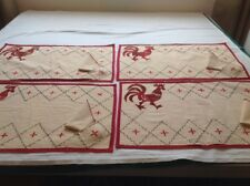 4 Mid-Century Ivory Place Mats W/ Applique Rooster/ 4 Napkins #7