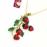 Betsey Johnson Enamel Strawberry Fruit Pendant Sweater Chain Necklace Sweet Gift
