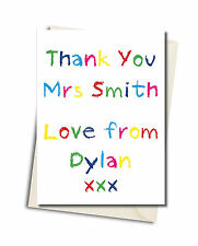 Personalised Thank You Teacher School  Crayon Style Card