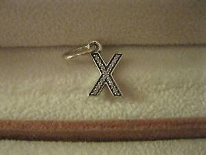 GENUINE PANDORA Sterling Silver 925 Ale Alphabet X Pendant Dangle Charm 791336CZ