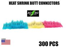 300Pcs Assorted Heat Shrink Insulated Butt Crimp Wire Connector Terminals Kit