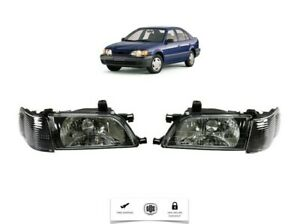 For 1995 1999 Toyota Tercel Front Headlight Set and Corner Black LH & RH