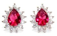 Sterling Silver Ruby And Diamond 2.98ct Pear Cut Stud Earrings (925)