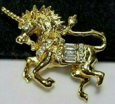 Vintage Gold Mini Mythological Unicorn Fantasy Rhinestone Brooch Pin