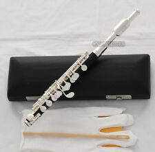 new Black Bakelite Piccolo Flute Silver plated C Tone Italian pad Leather Case