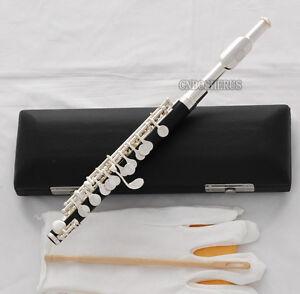 new Black Bakelite Piccolo Flute Silver plated C Tone Italian pad Leather Case