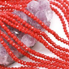 100 pcs 4mm Chinese Crystal Glass Beads Faceted Rondelle Rose Red Agate