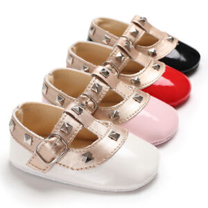 Newborn Baby Girl Patent Leather Crib Shoes Infant Mary Janes Soft Sole Trainers