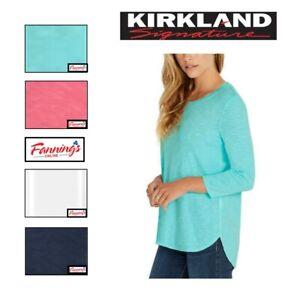 SALE! Kirkland Signature Ladies Cotton Slub Tee T-Shirt VARIETY SIZE/COLORS E53