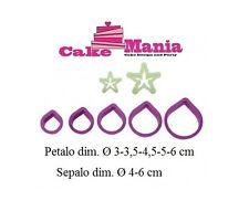 KIT 7 TAGLIAPASTA ROSA COMPLETA DI SEPALO DECORA PLASTICA CAKE DESIGN TORTE PDZ