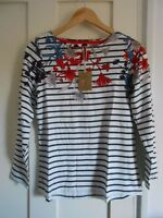 JOULES HARBOUR CREAM FAY FLORAL BORER JERSEY TOP sz UK 8  14 16