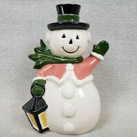 """Vintage Ceramic Snowman 8"""" Cute Greeting Pose 1965 Signed by Kevin Homemade"""