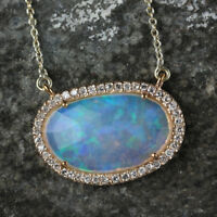 Gemstone Opal Pendant Necklace Solid 14k Yellow Gold Pave Diamond Fine Jewelry