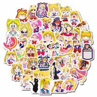 50pcs/Set Anime Sailor Moon Self sticking Stickers For Laptop Luggage bara Top