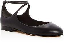 $185 size 9.5 Via Spiga yovela Black Leather Ballet Flat Ankle Strap Womens Shoe