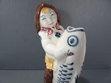 Vintage Royal Copenhagen Denmark Boy with Fish Figurine Bud Vase