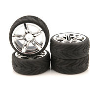 4pcs 1/10 Rubber Tires &12mm hex Wheels Rims Set For RC 1:10 on road Touring Car