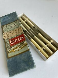 Vintage Joseph Fenton & Sons Sheffield Cutlery Boxed 6 Butter Knives BR
