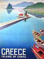 TRAVEL ISLAND CORFU GREECE BOATS PIER 30X40 CMS FINE ART PRINT ART POSTER BB9752