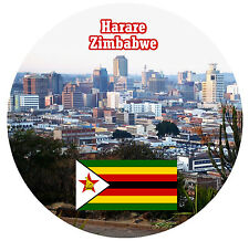 HARARE, ZIMBABWE AFRICA - FLAG / SIGHTS - ROUND SOUVENIR NOVELTY FRIDGE MAGNET