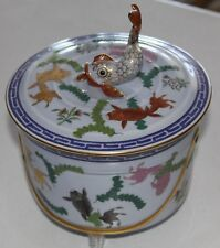 RARE VINTAGE HEREND HUNGARY POISSON DOLPHIN FISH LID BISCUIT JAR BLUE BACKGROUND