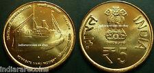 India Boat Komagata Maru Steam Ship Human Rights Coin 5 Rs Uncirculated NEW 2014