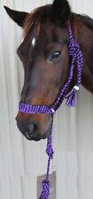 Nylon Braided Horse Halter Lead Rope Noseband Tack Purple Black Rodeo 606146