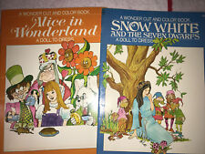 Wonder Cut and Color Snow White & Alice In Wonderland Paper Doll, Uncut, 1971