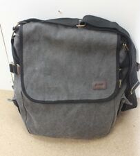 Jeep Mens Grey Cotton Canvas Grey Leather Zip Tablet Messenger Satchel Work Bag