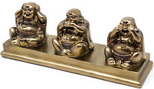 Three Wise Buddhas - Lucky Laughing Buddha Ornament Bronze Sculpture See No Evil
