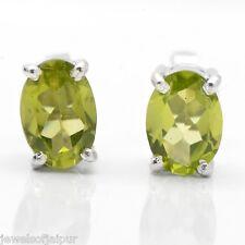925 Sterling Silver 1.6TCW Peridot Oval Gemstone Stud Earrings Jewelry 246PD AU