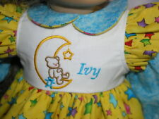"""New Ivy Embroidered Name Bear in Moon Dress 18"""" Doll clothes fits American Girl"""