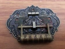 Chinese Old Fire Totem Lock Latch & Coded Lock Carved Lion Head For Jewelry Box