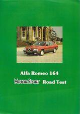 ALFA ROMEO 164 3.0 V6 road test 1989-90 UK Mercato PIEGA BROCHURE MOTOR SPORT