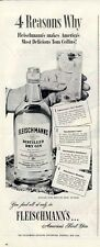 1946 Fleischmann Dry Gin Tom Collins Recipe Vintage Bottle  PRINT AD