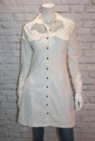 THE FITTED SHIRT DRESS Brand Women's White Corduroy Shirt Dress Size M #AN02