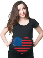 USA Flag America United States Pregnancy Maternity T-shirt 4th of July Tee