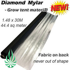 Hydroponics Diamond Mylar On Fabric Hydro Film Grow Room Liner 1.48x30M Roll
