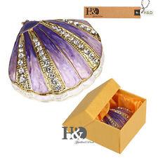 Purple Shell Shape Metal Trinket Boxes Party Jewelry Storage Case Home Decor