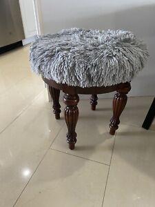 Cherry Wood Mid-Century Modern Style Vanity Stool Bench