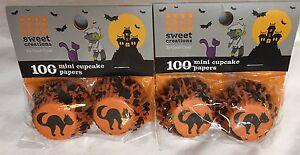 "Sweet Creations 1 1/4"" mini baking cups black cat 2X100 200 total HALLOWEEN NIP"