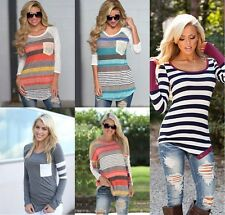 Fashion Women Ladies Casual Long Sleeve Crewneck Loose Blouse Tops T Shirt Lot