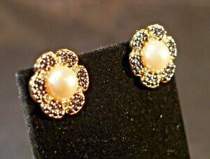 Pearl black rhinestones gold tone six petaled flower post earrings