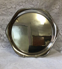 More details for george v art deco 1932 rf mosley & co beaded solid silver salver, wine tray 30cm